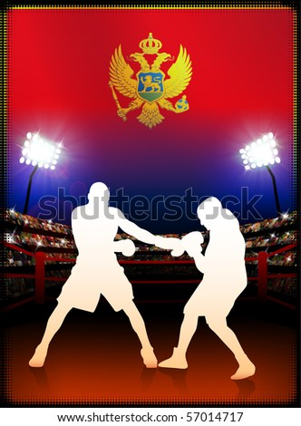 Montenegro Flag with Boxer on Stadium Background Original Illustration - stock vector