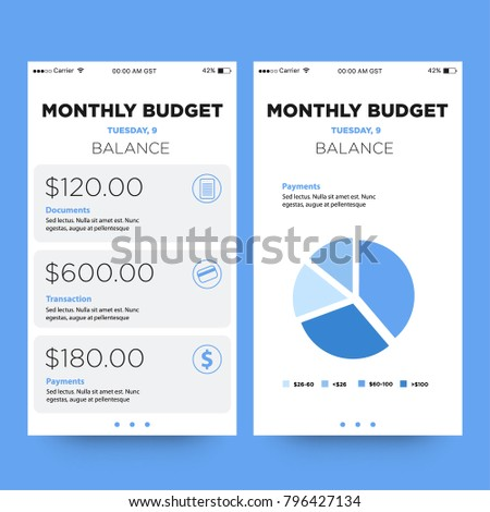 monthly budget app ui ux screensのベクター画像素材 796427134