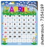 Monthly calendar April - Vector file contains separate layers: US Style, start on Sunday + Europe Style, start in Monday. - stock vector