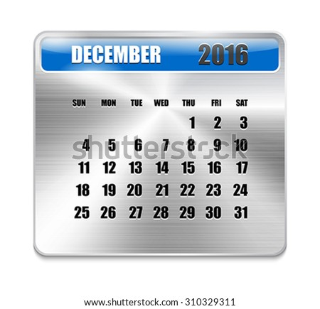 Monthly calendar for December 2016 on metallic plate, orange holidays. Can be used for business and office calendars, website design, prints etc. Vector Illustration - stock vector