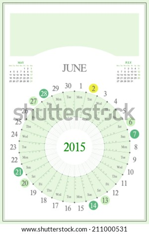 Monthly calendar for 2015. Highlighted saturday, sunday, full moon (UTC). 3:2 aspect ratio. Editable. Blank space for logo or image on the top. June. - stock vector