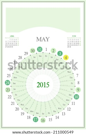 Monthly calendar for 2015. Highlighted saturday, sunday, full moon (UTC). 3:2 aspect ratio. Editable. Blank space for logo or image on the top. May. - stock vector