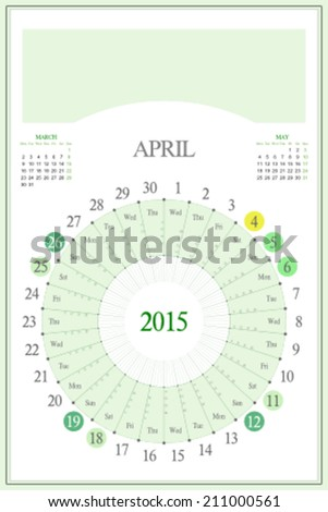 Monthly calendar for 2015. Highlighted saturday, sunday, full moon (UTC). 3:2 aspect ratio. Editable. Blank space for logo or image on the top. April. - stock vector