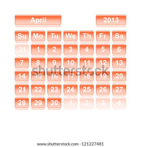 Monthly calendar for New Year 2013. April. - stock vector