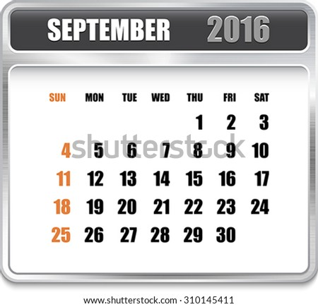 Monthly calendar for September 2016 on metallic plate, orange holidays. Can be used for business and office calendars, website design, prints etc. Vector Illustration