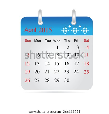 Monthly calendar for year 2015. April.  isolated on white a background