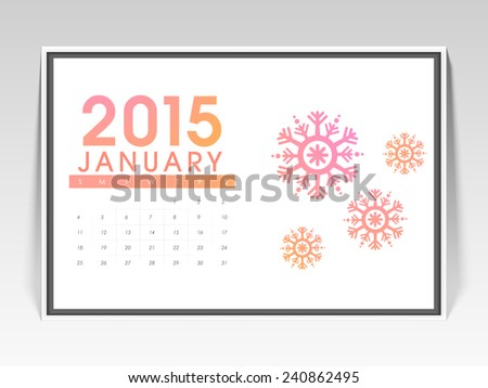 Monthly calendar of January 2015 with snowflakes for Happy New Year celebration. - stock vector