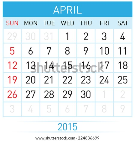 Monthly calendar template for April of year Twenty Fifteen - stock vector