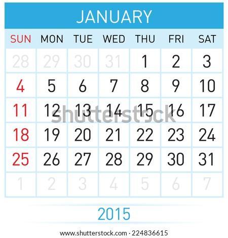 Monthly calendar template for January of year Twenty Fifteen - stock vector