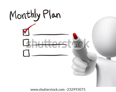 monthly plan words written by 3d man over transparent board - stock vector