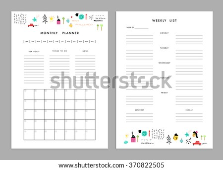 Monthly Planner Plus Weekly List Templates Stock Vector 370822472
