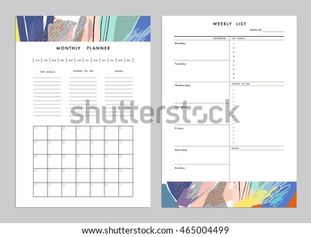 Monthly Planner Plus Weekly List Templates Stock Vector 464881052