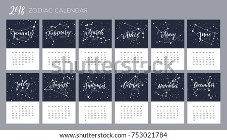Months Names Brush Lettering Constellations Zodiac Stock Photo
