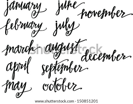 Months of the Year Set - stock vector