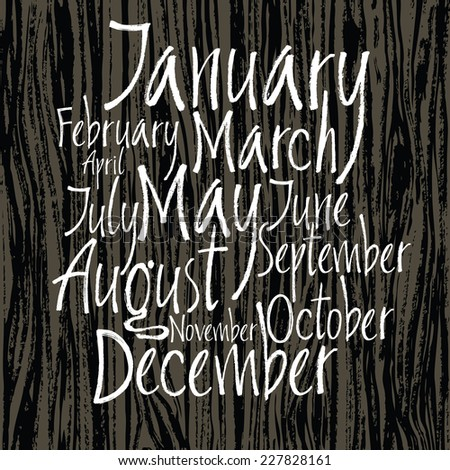 Months of year written with a brush - stock vector