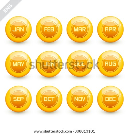 Months on glossy gold spheres