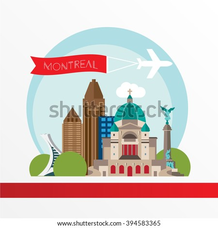 Montreal detailed silhouette. Trendy vector illustration, flat style. Stylish colorful  landmarks. The concept for a web banner. St Joseph Oratory - The symbol of Montreal, Canada - stock vector