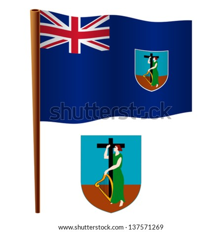 montserrat wavy flag and coat of arm against white background, vector art illustration, image contains transparency