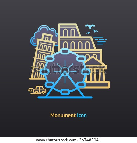 Monument icon. Part of the travel vacation icon set.  - stock vector