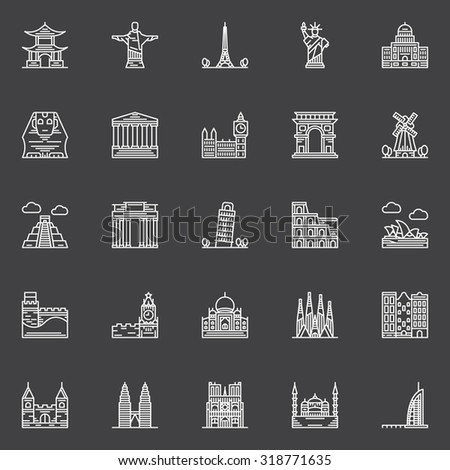 Monuments icons set - vector linear popular travel landmarks symbols and logo elements - stock vector