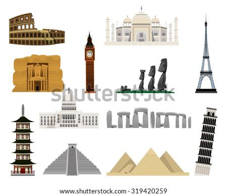 Monuments modern flat icons such as South American pyramids and pyramids, Eiffel , Big Ben, Monuments of Easter Island, Petra, Stonehenge, the Coliseum, Taj Mahal,, Pisa,  White House, pagoda. Vector - stock vector