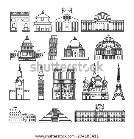 Monuments thin line vector icons. Louvre and Colosseum, Pyramid and Arc de Triomphe - stock vector