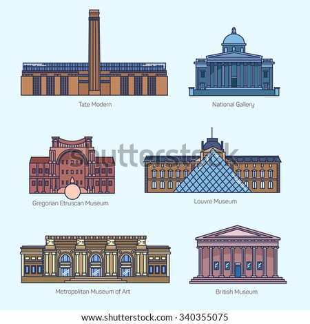 Monuments thin line vector icons. Tate Modern, National Gallery, Gregorian Etruscan Museum, Louvre, Metropolitan Museum of Art, British Museum.  - stock vector