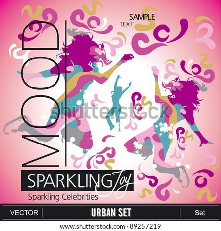MOOD Sparkling set - stock vector