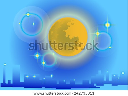 Moon and city in the background blues.  - stock vector