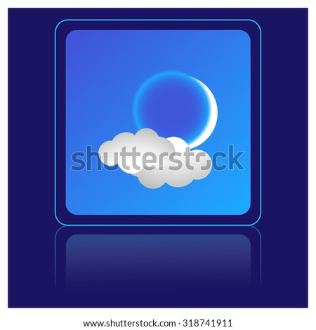 moon and cloud, weather icon - stock vector