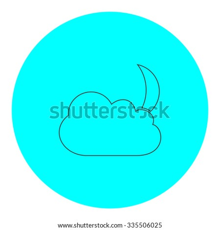Moon and clouds. Black outline flat icon on blue circle. Simple vector illustration pictogram on white background - stock vector