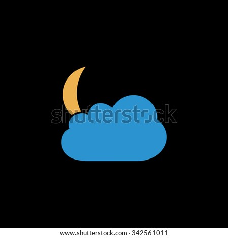 Moon and clouds. Color vector icon on black background - stock vector