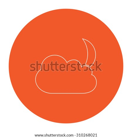 Moon and clouds. Flat outline white pictogram in the orange circle. Vector illustration icon - stock vector
