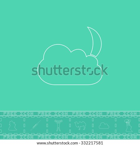 Moon and clouds. White outline flat symbol and bonus icon. Simple vector illustration pictogram on green background - stock vector