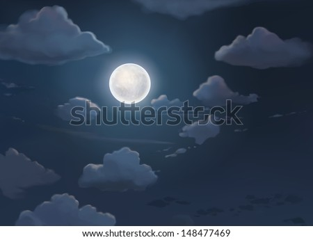 Moon and night  clouds