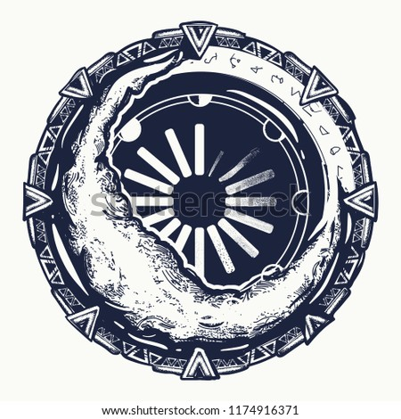 Moon Star Gate Tattoo Symbol Occultism Stock Vector Royalty Free