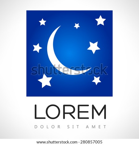 moon and stars - stock vector