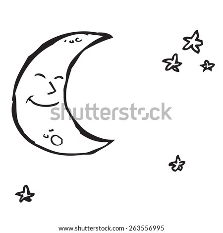 Moon and Stars Doodle - stock vector