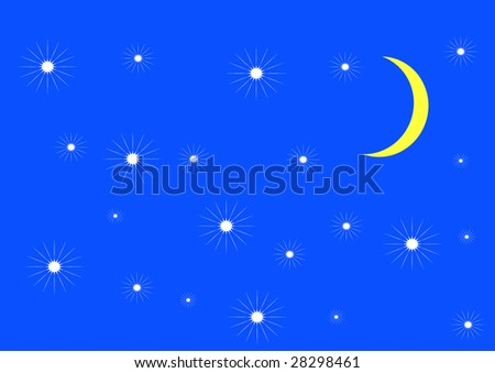 moon and stars in dark - stock vector