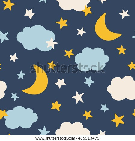 Moon and stars, seamless pattern