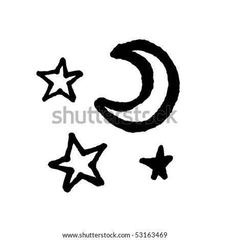 Moon and stars sketch. Vector. - stock vector