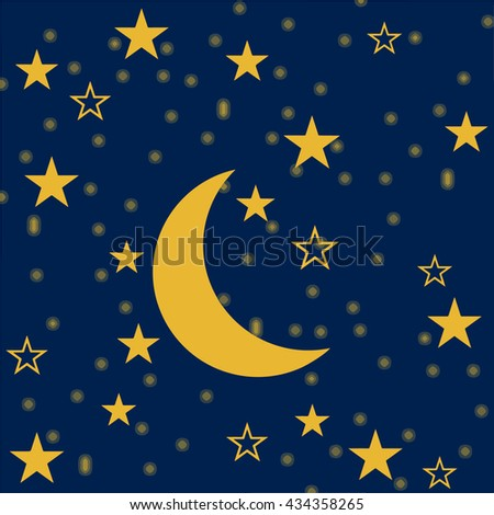 Moon and stars, vector design