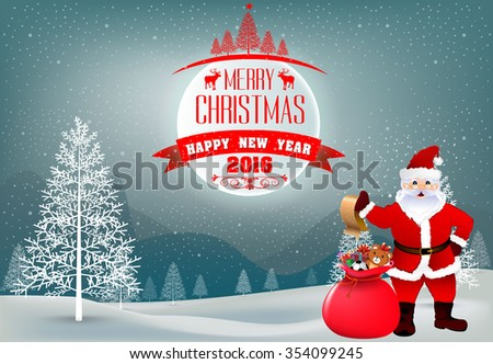 Moon and Text Forest Christmas and happy new yeats Holiday Flat 2016 And Santa Claus,Vector Illustration - stock vector
