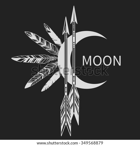 Moon, arrows and feathers on black background. Vector illustration - stock vector