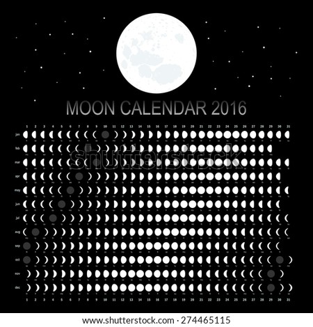 Moon calendar 2016 - stock vector