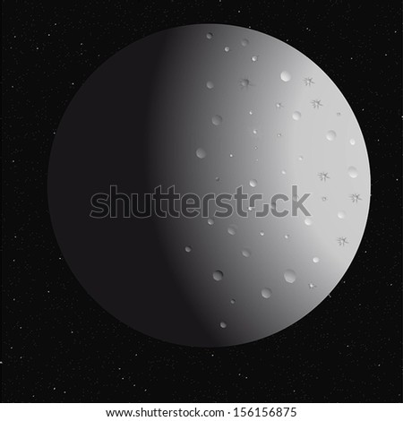 moon, crater in space, vector illustration - stock vector