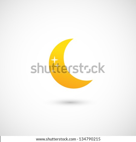 moon icon vector - stock vector