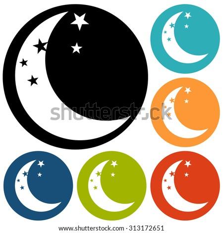 moon icon vector - stock vector