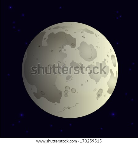 Moon in space. Vector illustration - stock vector