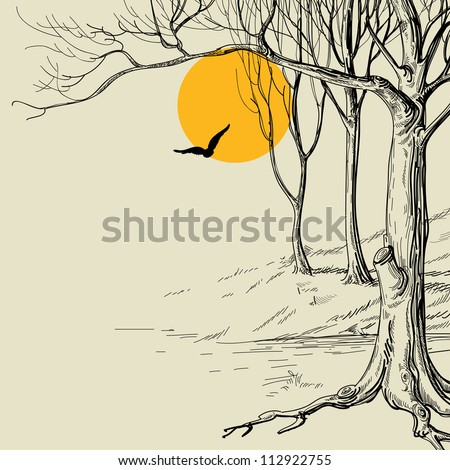 Moon in the forest sketch - stock vector